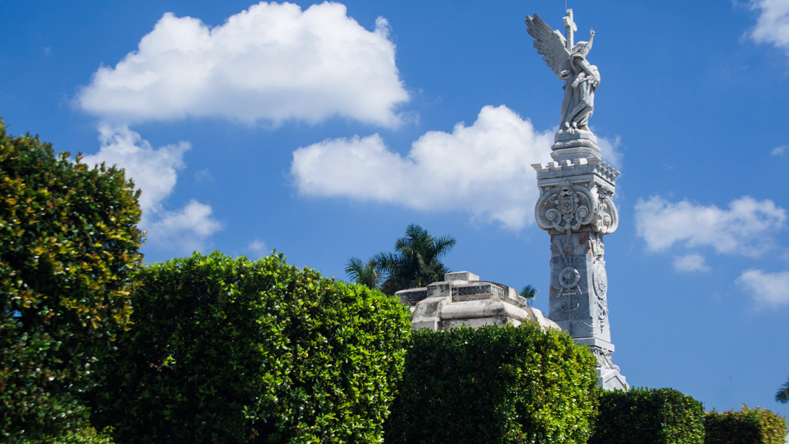 A view of a marble memorial in the Colon Cemetery in Havana