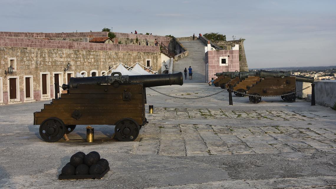 Historic canons in Fortaleza de San Carlos de la Cabaña,