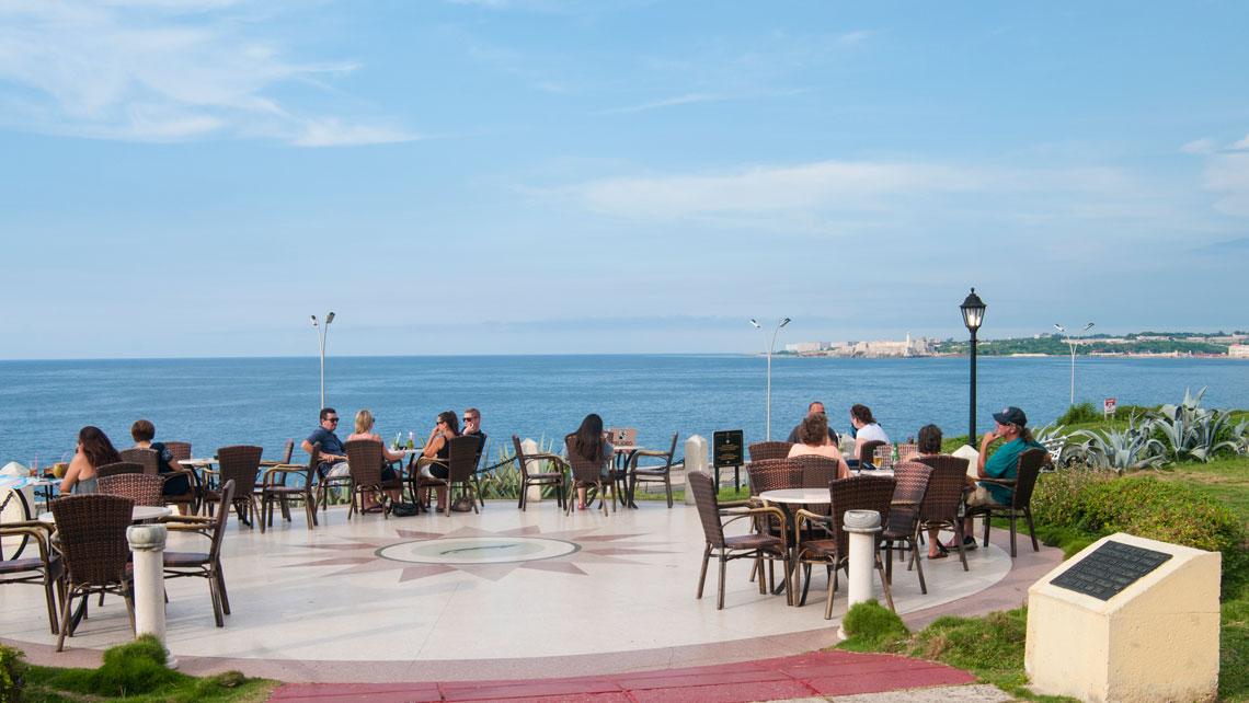 Tourists enjoying the magnificient views from the garden of Nacional de Cuba Hotel in Havana