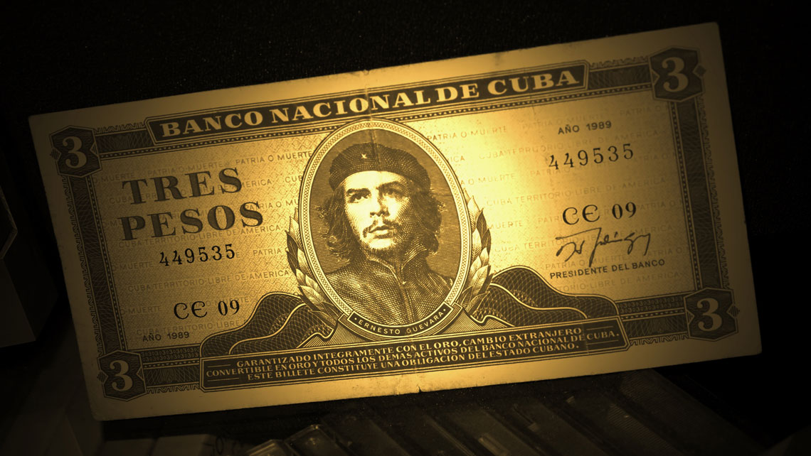 Close up of a Cuban Peso note