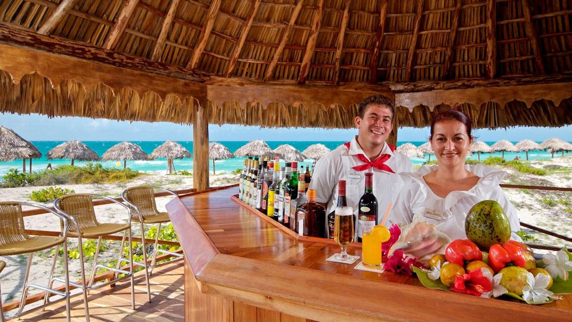 Bar of hotel Melia las Dunas near a beautiful white sanded beach