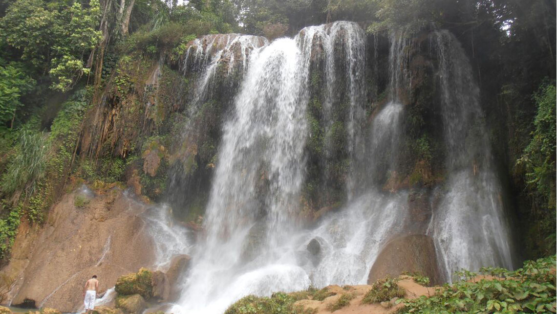 Waterfall in the Natural parkland El Nicho in the Escambray mountains, Cuba
