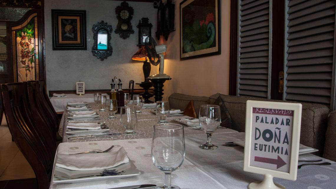 Table set in Paladar Dona Eutimia, La Habana, Cuba